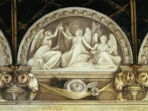 Lunette of Three Fates, Detail of Decoration from St. Paul's Chamber or Abbess' Chamber, 1519-1520 by Antonio Allegri Da Correggio