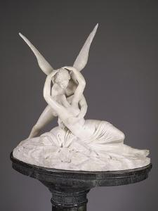An Italian Alabaster Group Entitled Cupid and Psyche, Late 19th Century by Antonio Canova