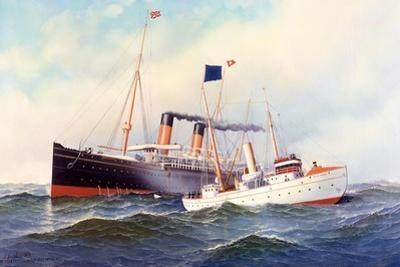 British Ship Majestic with Pilot Boat New York, 1898 by Antonio Jacobsen