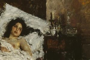 Resting, C.1887 by Antonio Mancini