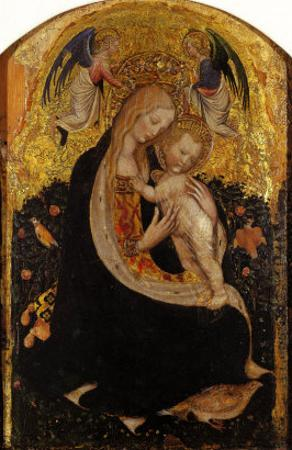 Madonna and Child Crowned by Two Angels (Madonna of the Quail) by Antonio Pisani Pisanello