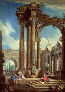 Studying Perspective Among Roman Ruins by Antonio Visentini