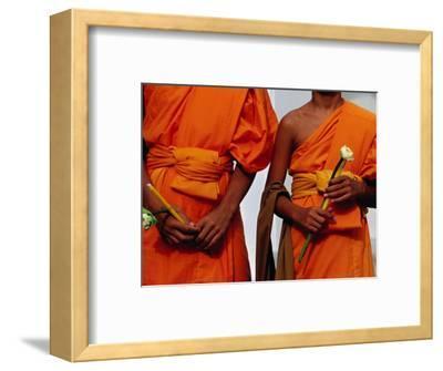 Orange-Robed Monks at Phra Pathom Chedi, the World's Talles Buddhist Monument