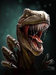 Dinosaur with Teeth and Claws, Close-Up by Antracit