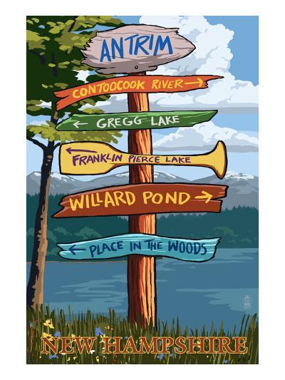 Antrim, New Hampshire - Destination Sign-Lantern Press-Art Print