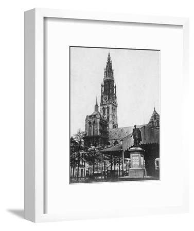 Antwerp Cathedral and Statue of the Artist Peter Paul Rubens, Belgium, 1867