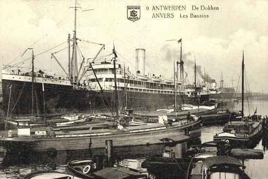 Antwerpen, Belgian Line, Hafen,Dampfer Stadt Brüssel--Giclee Print
