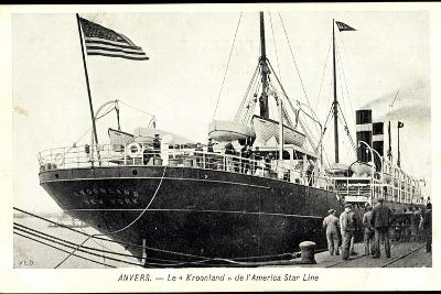 Anvers Flandern, Dampfer Kroonland Der Rsl--Giclee Print