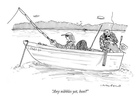 """Any nibbles yet, hon?"" - New Yorker Cartoon-Michael Crawford-Premium Giclee Print"
