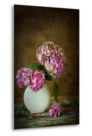 Painterly Textured Flower Still Life on Old Wooden Board