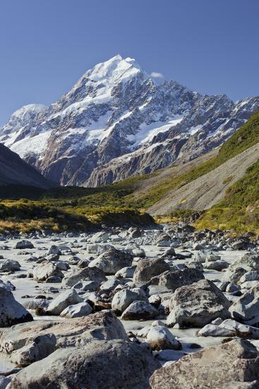 Aoraki, Hooker River, Mount Cook National Park, Canterbury, South Island, New Zealand-Rainer Mirau-Photographic Print