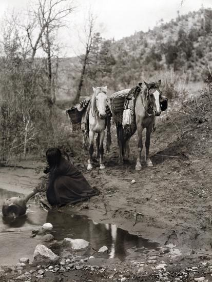 Apache and Horses, c1903-Edward S^ Curtis-Giclee Print