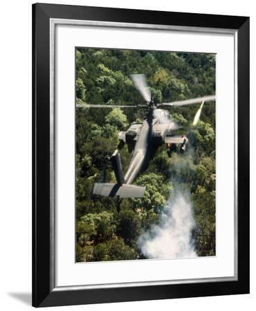 Apache Helicopter Firing-Stocktrek Images-Framed Photographic Print