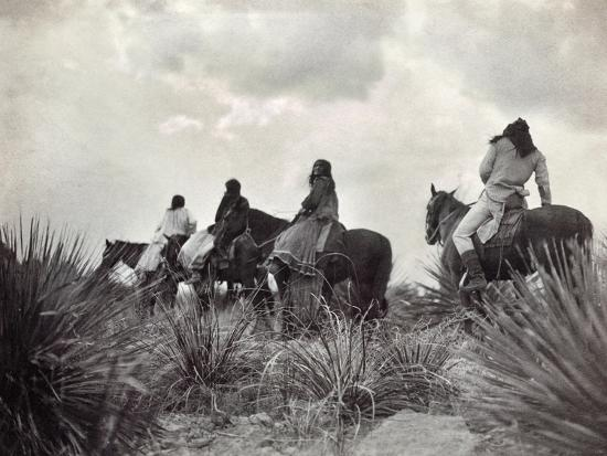 Apache on Horseback, c1906-Edward S^ Curtis-Giclee Print
