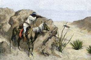 Apache Warrior Ambushing a Covered Wagon in the Southwest, c.1800