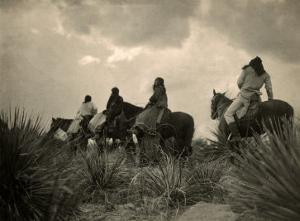 Apaches. before the Storm- Four Apache on Horseback on Horseback under Storm Clouds, 1906