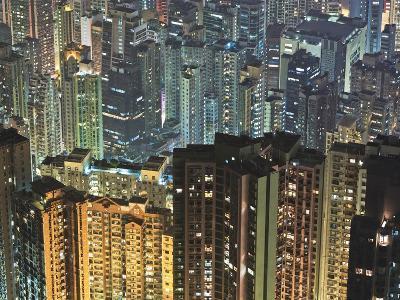 Apartment buildings in Hong Kong at night-Rudy Sulgan-Photographic Print