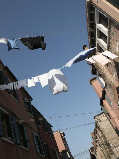Apartment Buildings with Laundry Hanging Out to Dry on Clothes Line--Photographic Print