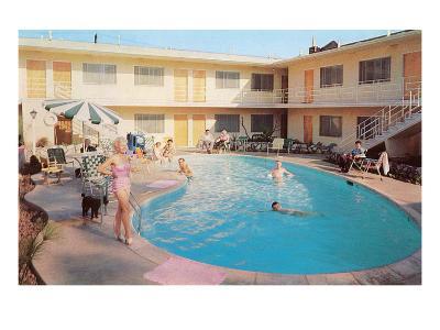 Apartment Complex Pool, Retro--Art Print
