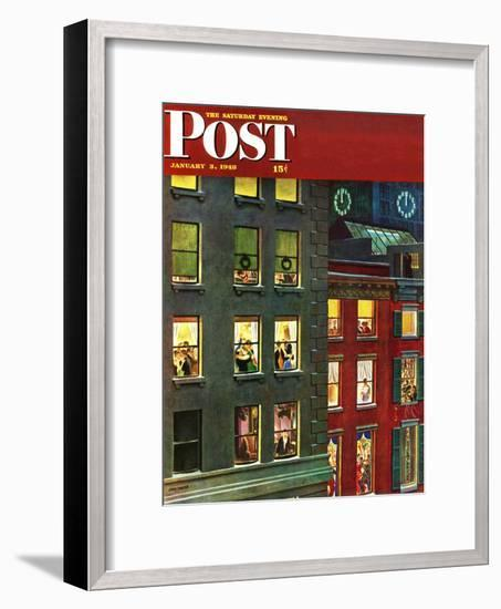 """""""Apartment Dwellers on New Year's Eve,"""" Saturday Evening Post Cover, January 3, 1948-John Falter-Framed Premium Giclee Print"""