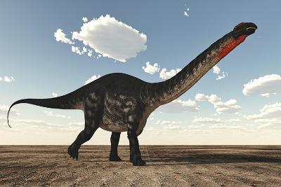 Apatosaurus Dinosaur Walking in the Desert-Stocktrek Images-Art Print