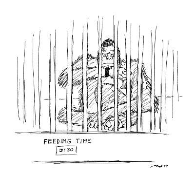 """""""Ape checks his wristwatch as he sits in zoo cage. A sign below him reads ?"""" - New Yorker Cartoon-Al Ross-Premium Giclee Print"""