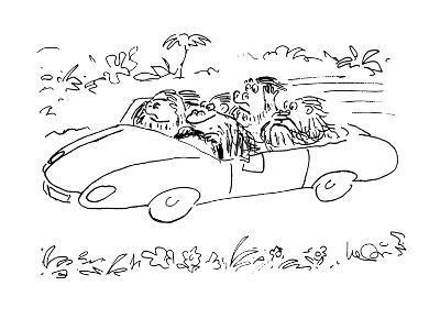 Ape driving car with three others, 'speak no evil,'  'hear no evil,' and '? - Cartoon-Arnie Levin-Premium Giclee Print