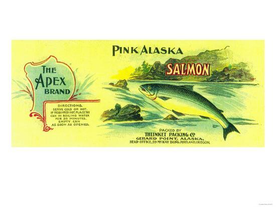 Apex Salmon Can Label - Gerard Point, AK-Lantern Press-Art Print