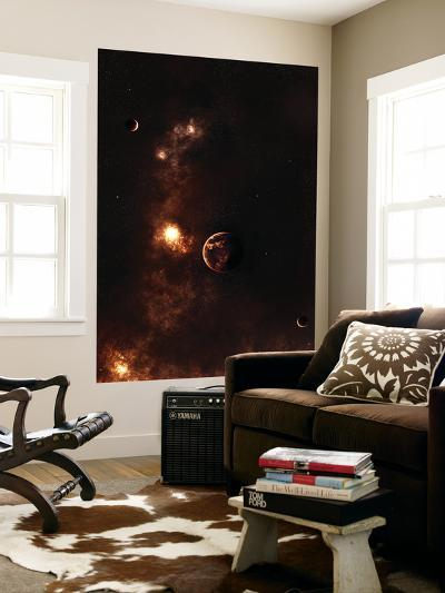 Aplanet Illuminated by Plasma Floating in the Vast Space-Stocktrek Images-Wall Mural
