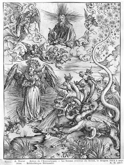 Apocalypse, the Woman Clothed with the Sun and the Seven-Headed Dragon, Latin Edition, 1511-Albrecht D?rer-Giclee Print