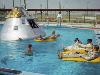 Apollo 1 Astronauts Working by the Pool