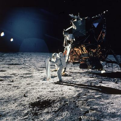 "Apollo 11 Astronaut Buzz Aldrin Unfurling ""Solar Wind Sheet""--Photographic Print"