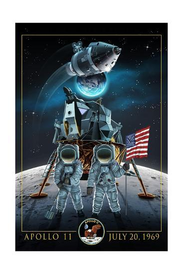 Apollo 11 - Lander and Astronauts-Lantern Press-Art Print