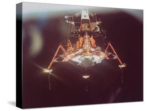 Apollo 11 Lunar Module in Landing Configuration, as Viewed from Command and Service Module