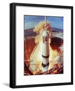 Apollo 11 Space Ship Lifting Off on Historic Flight to Moon-Ralph Morse-Framed Photographic Print