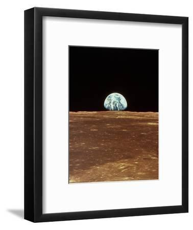 Apollo 11 View of Earth Rising Over Moon's Horizon--Framed Premium Photographic Print