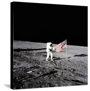 """Apollo 12 Astronaut Charles """"Pete"""" Conrad Stands Beside the United States Flag"""