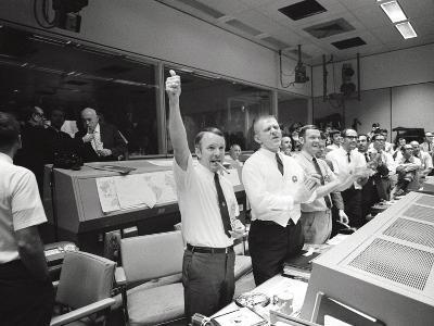 Apollo 13 Flight Directors Applaud the Successful Splashdown of the Command Module--Photo
