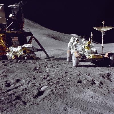 Apollo 15 Astronaut James Irwin Loads Lunar Roving Vehicle at the Hadley-Apennine Landing Site--Photo