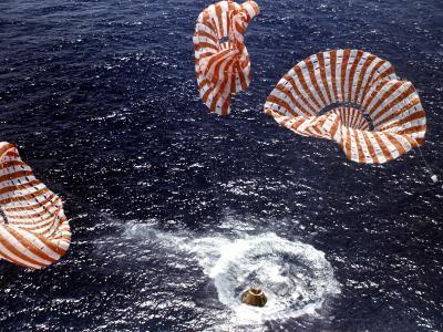 Apollo 15 Splashing Down in Pacific Ocean W. Parachutes Trailing Behind--Photographic Print