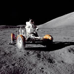 Apollo 17 Astronaut Eugene a Cernan Driving the Lunar Rover