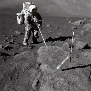 Apollo 17 Geologist-Astronaut Harrison Schmitt Covered with Lunar Dirt