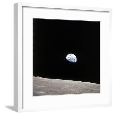 Apollo 8 View of Earth Rise over the Moon--Framed Premium Photographic Print