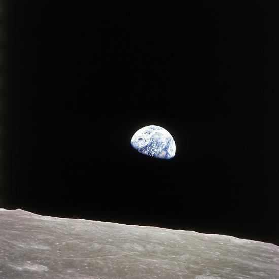 Apollo 8 View of Earth Rise over the Moon--Photographic Print