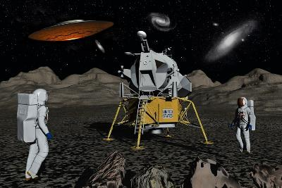 Apollo Astronauts Coming into Contact with an Alien Ufo While on the Moon--Art Print