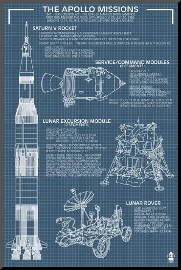 Apollo Missions - Blueprint Poster-Lantern Press-Mounted Print