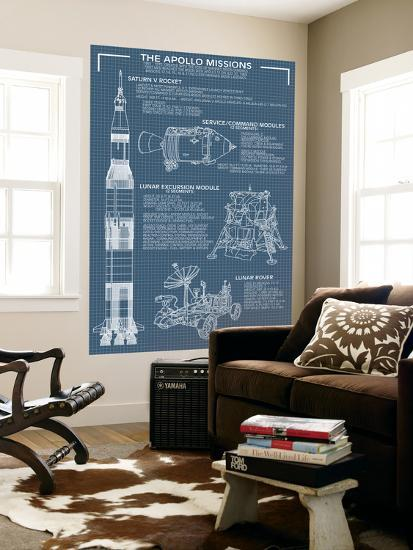 Apollo Missions - Blueprint Poster-Lantern Press-Wall Mural