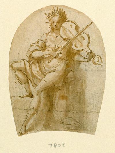 Apollo Seated, Playing His Viol-Bernadino India-Giclee Print