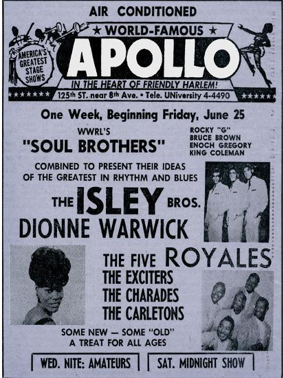 Apollo Theatre Ad: Soul Brothers, Isley Brothers, Dionne Warwick, Five  Royales, Charades, Carletons Art Print by | Art com