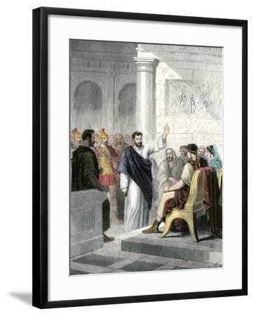 Apostle Paul Defending Himself before Roman Consul Agrippa--Framed Giclee Print